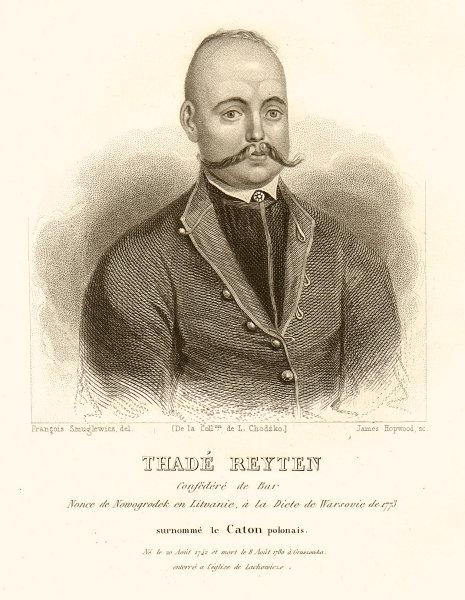 Tadeusz Reytan or Rejtan, nicknamed the Polish Cato 1839 old antique print