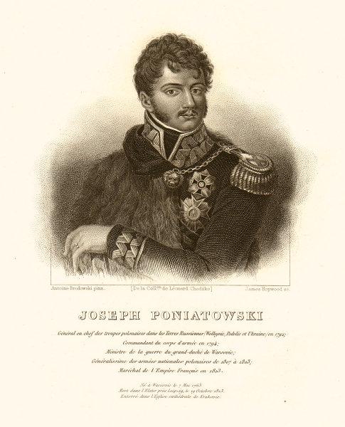 Prince Jozef (Joseph) Antoni Poniatowski. Polish general 1839 old print
