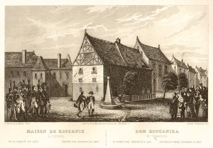 Copernicus house in Torun visited by Napoleon in 1807. Dom Kopernik 1839 print
