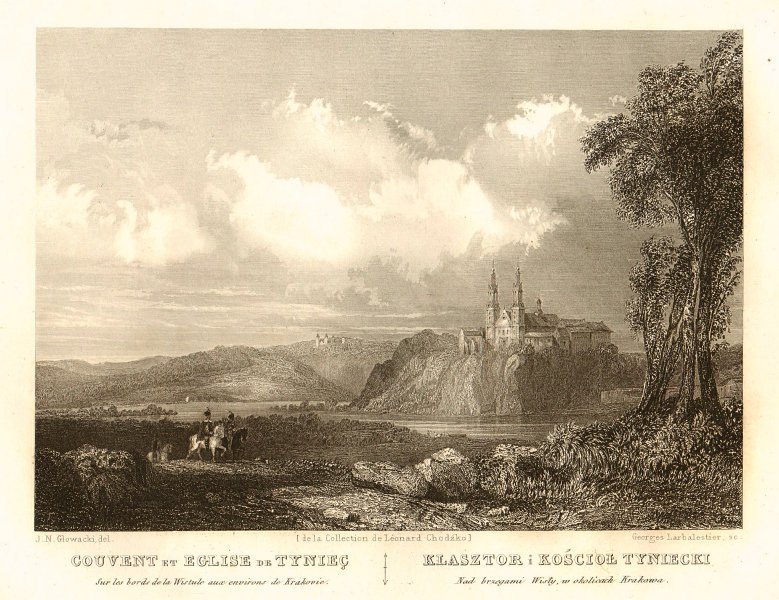 Abbey of Tyniec, on the Wistula near Krakow. Tyniecki Krakowa 1839 old print