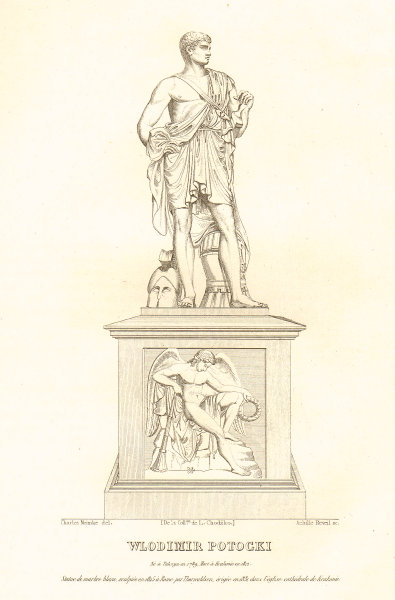 Count Wlodziemierz Potocki. Krakow statue 1839 old antique print picture