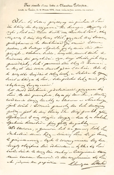 Facsimile 1836 letter from Klaudyna/Claudine Potocka 1839 old antique print