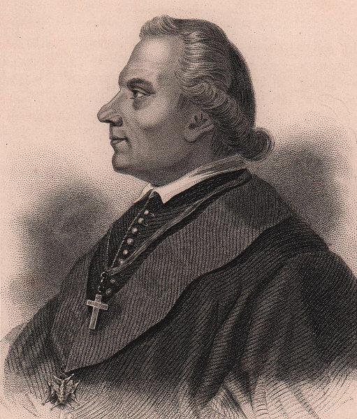 Adam Stanislaw Naruszewicz, Polish historian and poet 1839 old antique print