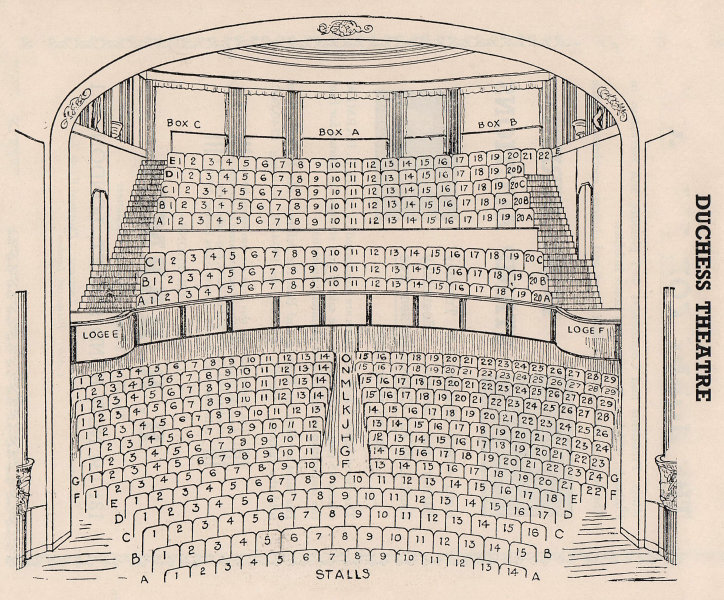 DUCHESS THEATRE vintage seating plan. London West End 1937 old vintage print