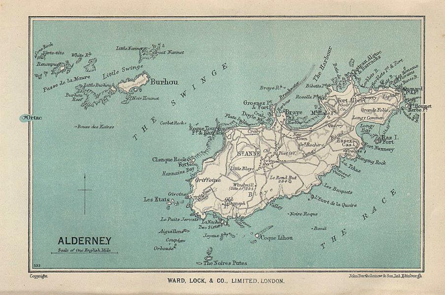 ALDERNEY vintage tourist map. Channel Islands. St Anne. WARD LOCK 1950 old