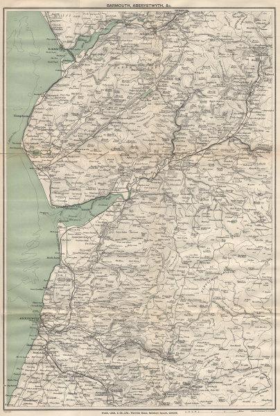 SNOWDONIA SOUTH. Barmouth Aberystwyth. Cardiganshire Wales. WARD LOCK 1906 map
