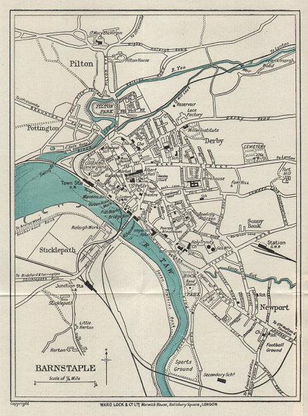 BARNSTAPLE vintage tourist town city resort plan. Devon. WARD LOCK 1926 map