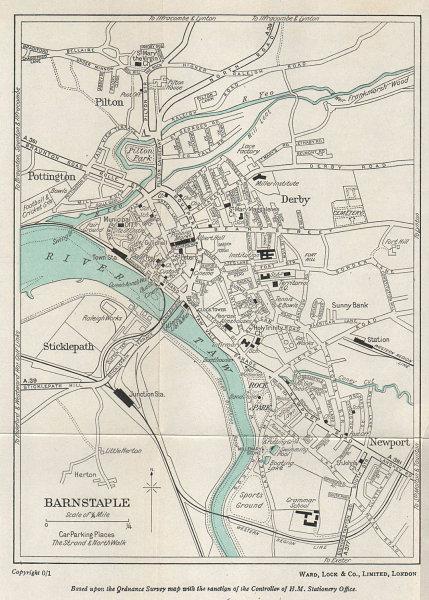 BARNSTAPLE vintage tourist town city resort plan. Devon. WARD LOCK 1965 map