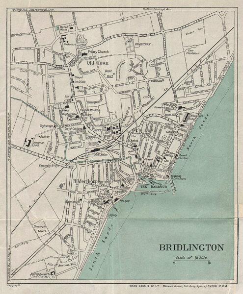 BRIDLINGTON vintage tourist town city plan. Yorkshire. WARD LOCK 1935 old map