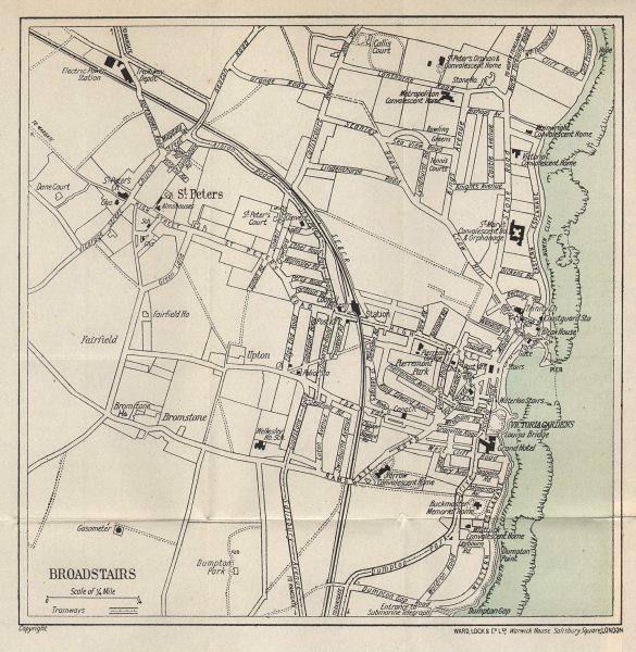 BROADSTAIRS vintage tourist town city resort plan. Kent. WARD LOCK 1919 map