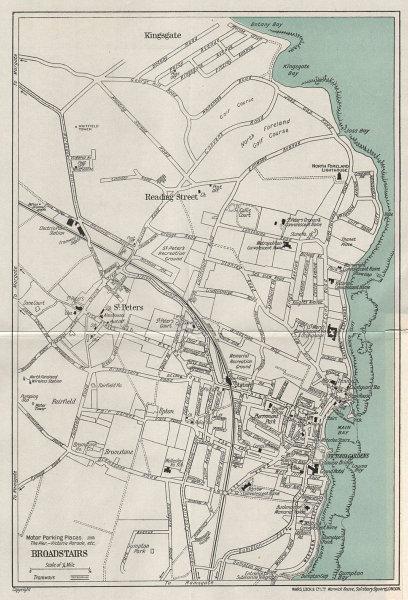 BROADSTAIRS vintage tourist town city resort plan. Kent. WARD LOCK 1937 map