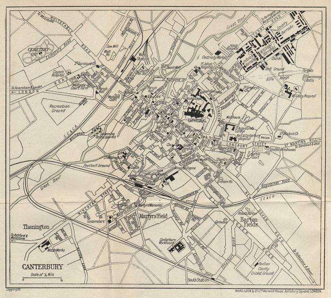 CANTERBURY vintage tourist town city plan. Kent. WARD LOCK 1919 old map