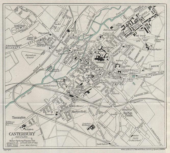 CANTERBURY vintage tourist town city plan. Kent. WARD LOCK 1937 old map