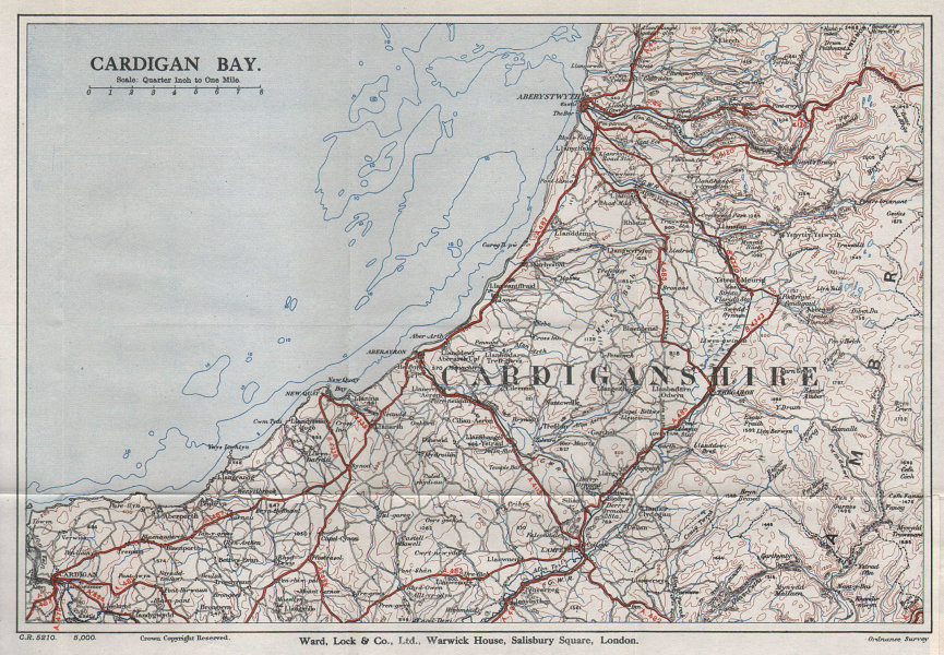 CARDIGAN BAY vintage tourist map. Aberystwyth Aberaeron Wales WARD LOCK 1936