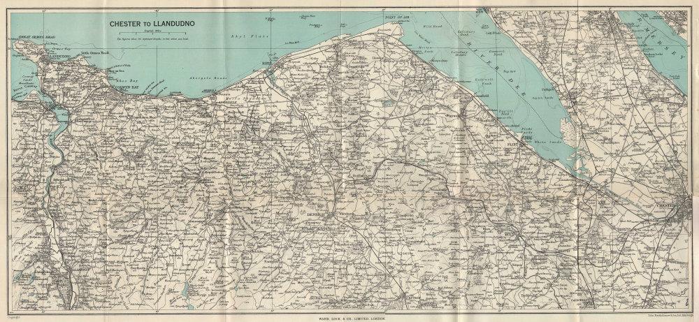 NORTH WALES COAST. Chester-Llandudno. Denbigh Rhyl Deeside. WARD LOCK 1951 map