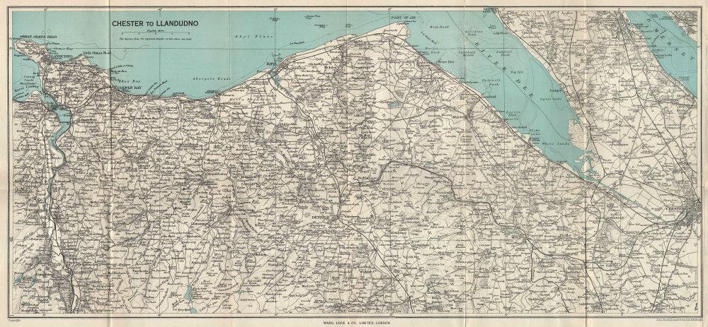 NORTH WALES COAST. Chester-Llandudno. Denbigh Rhyl Deeside. WARD LOCK 1952 map