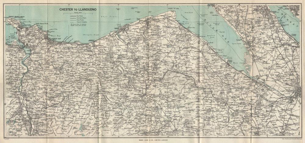NORTH WALES COAST. Chester-Llandudno. Denbigh Rhyl Deeside. WARD LOCK 1961 map