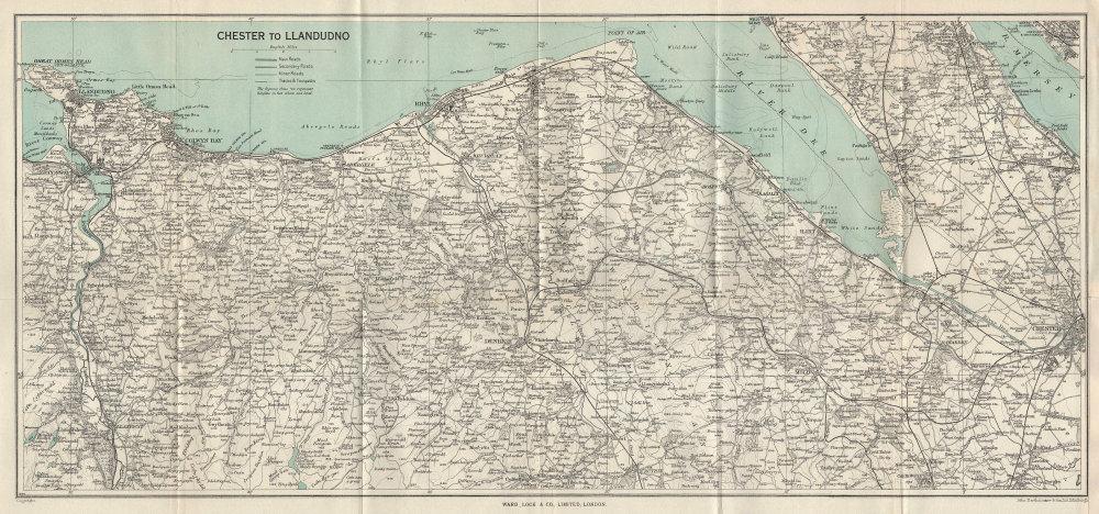 NORTH WALES COAST. Chester-Llandudno. Denbigh Rhyl Deeside. WARD LOCK 1963 map