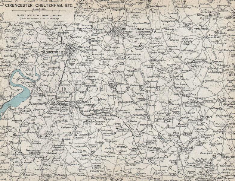 COTSWOLDS Cirencester Cheltenham Stow Bibury Gloucestershire. WARD LOCK 1967 map