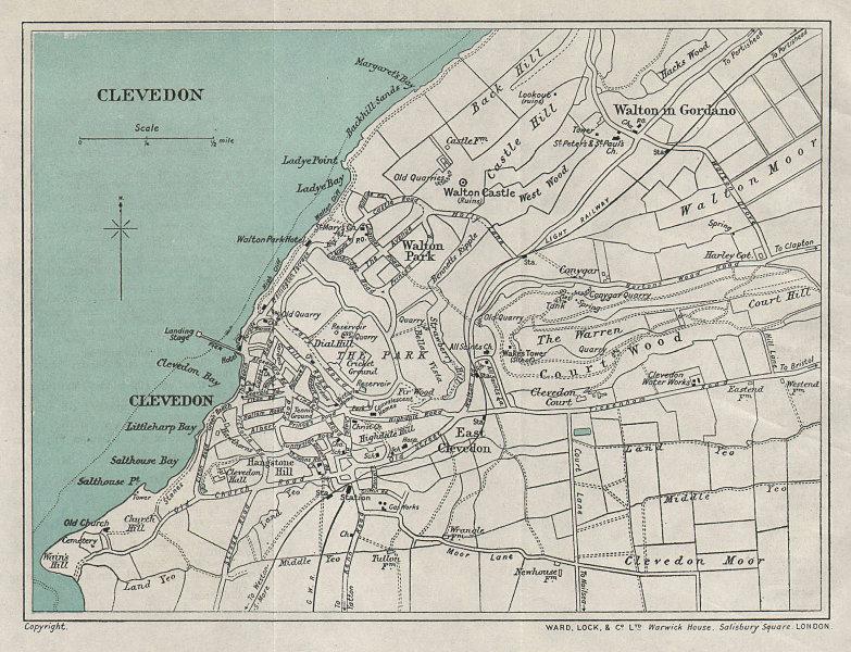CLEVEDON vintage tourist town city plan. Somerset. WARD LOCK 1928 old map