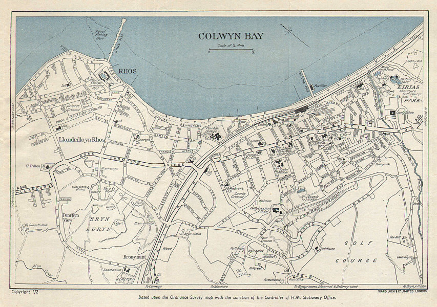 COLWYN BAY vintage tourist town city resort plan. Wales. WARD LOCK 1952 map