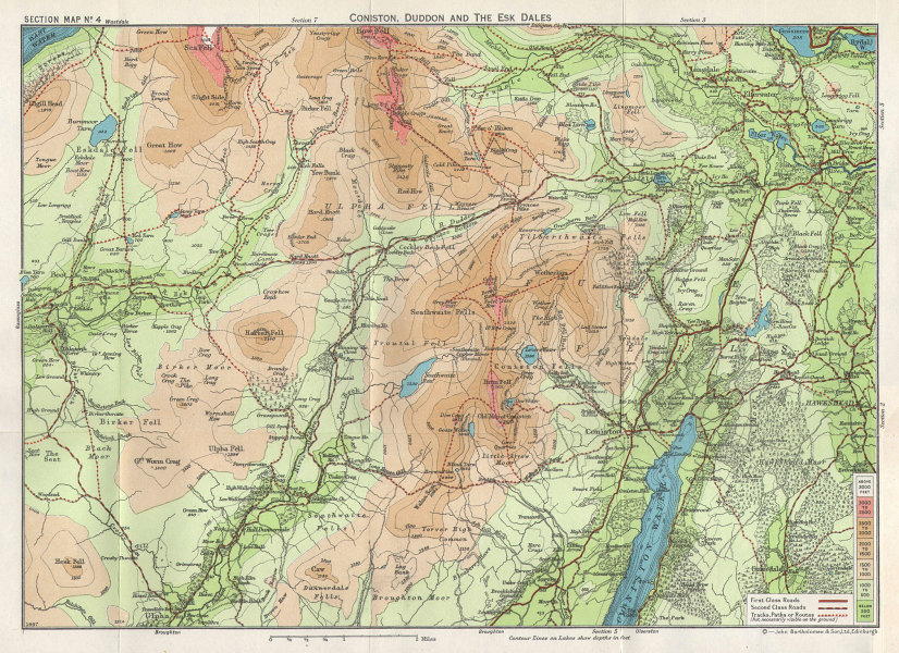 LAKE DISTRICT Coniston Duddon & Esk Dales Ulpha & Furness Fells 1964 old map