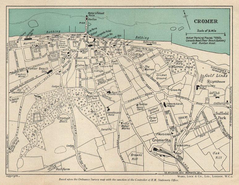 CROMER vintage tourist town city resort plan. Norfolk. WARD LOCK 1946 old map