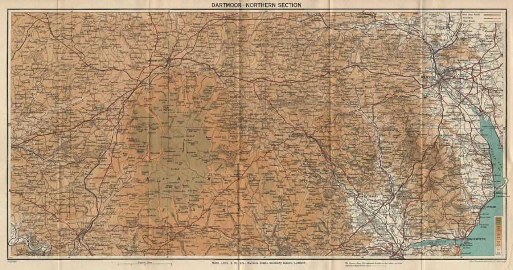 DARTMOOR NORTH. Chagford Okehampton Exeter Tavistock. Devon. WARD LOCK 1938 map