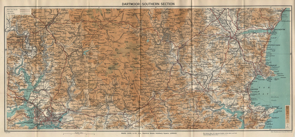 DARTMOOR SOUTH. Plymouth Torquay Tavistock Brixham Devon. WARD LOCK 1938 map