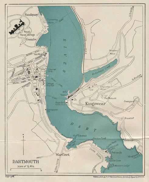 DARTMOUTH vintage tourist town city plan. Devon. WARD LOCK 1924 old map