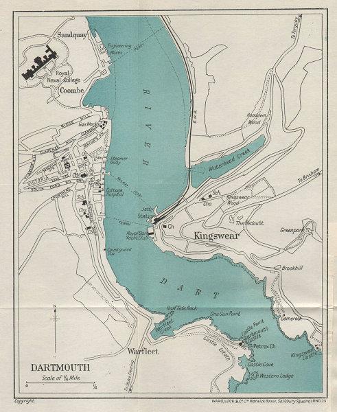 DARTMOUTH vintage tourist town city plan. Devon. WARD LOCK 1925 old map
