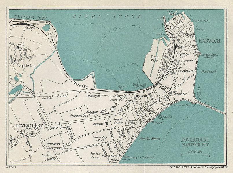 HARWICH vintage tourist town city plan. Dovercourt. Essex. WARD LOCK 1927 map
