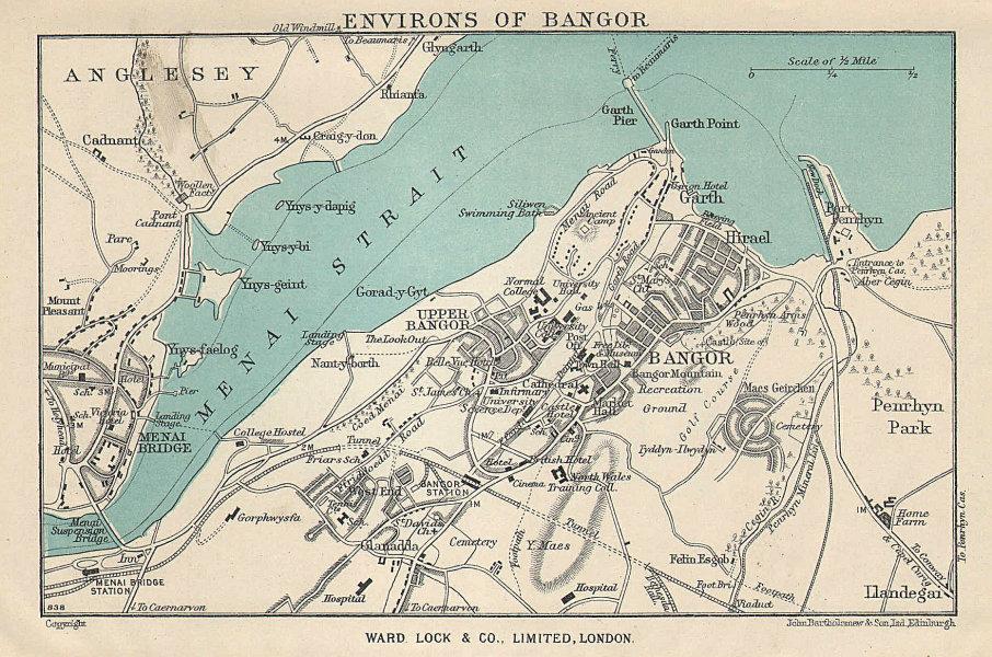 BANGOR vintage tourist town city plan. Menai Bridge. Wales. WARD LOCK 1951 map