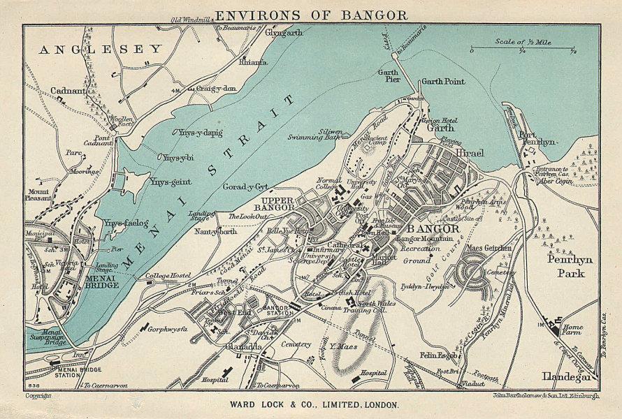 BANGOR vintage tourist town city plan. Menai Bridge. Wales. WARD LOCK 1952 map