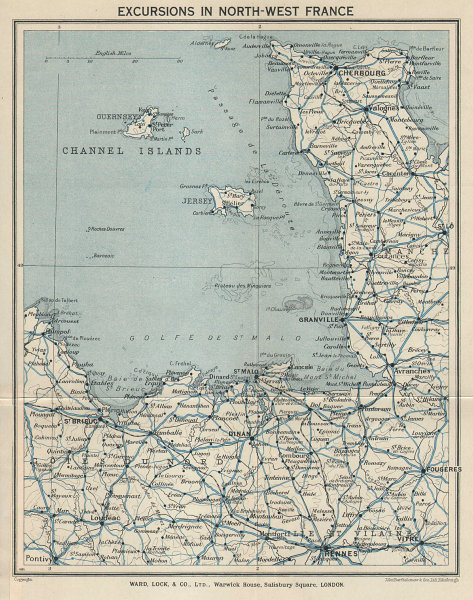 NORTH-WEST FRANCE. Channel Islands. Britanny Normandy. WARD LOCK 1934 old map
