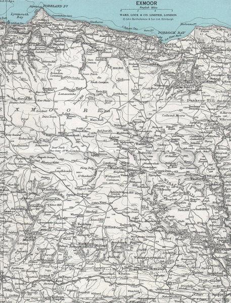 EXMOOR vintage tourist map. Lynmouth Dulverton Somerset. WARD LOCK 1968