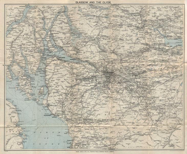 GLASGOW & THE CLYDE vintage tourist map. Scotland. WARD LOCK 1931 old
