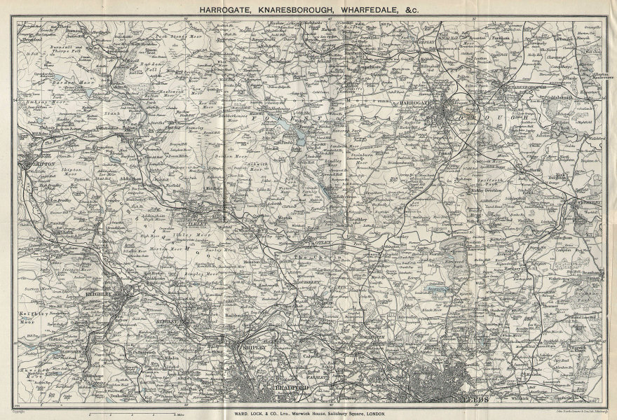 YORKSHIRE Harrogate Knaresborough Wharfedale Leeds Bradford. WARD LOCK 1939 map