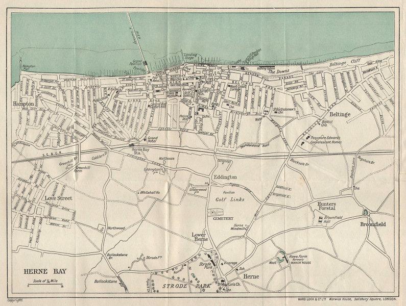 HERNE BAY vintage tourist town city resort plan. Kent. WARD LOCK 1924 old map