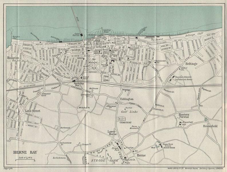 HERNE BAY vintage tourist town city resort plan. Kent. WARD LOCK 1937 old map