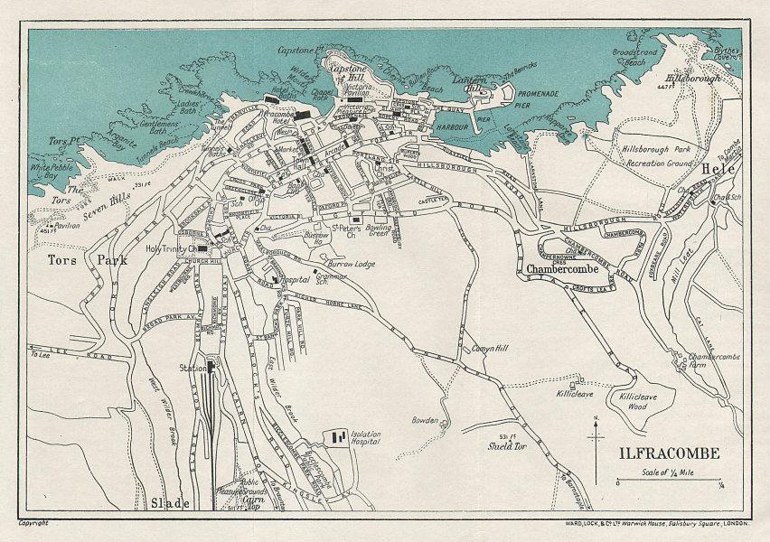 ILFRACOMBE vintage tourist town city plan. Devon. WARD LOCK 1926 old map
