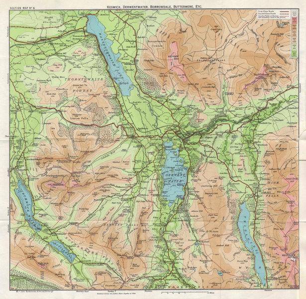 LAKE DISTRICT Keswick Derwentwater Thirlmere Buttermere Bassenthwaite 1964 map