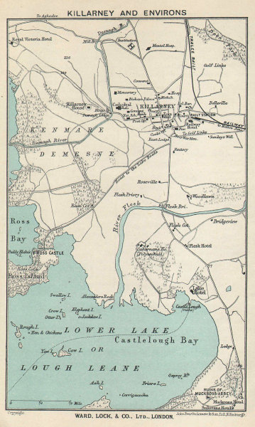 KILLARNEY & environs vintage tourist town city plan. Ireland. WARD LOCK 1936 map