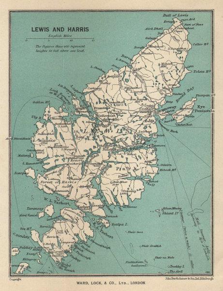 LEWIS & HARRIS. Outer Hebrides vintage tourist map. Scotland. WARD LOCK 1947