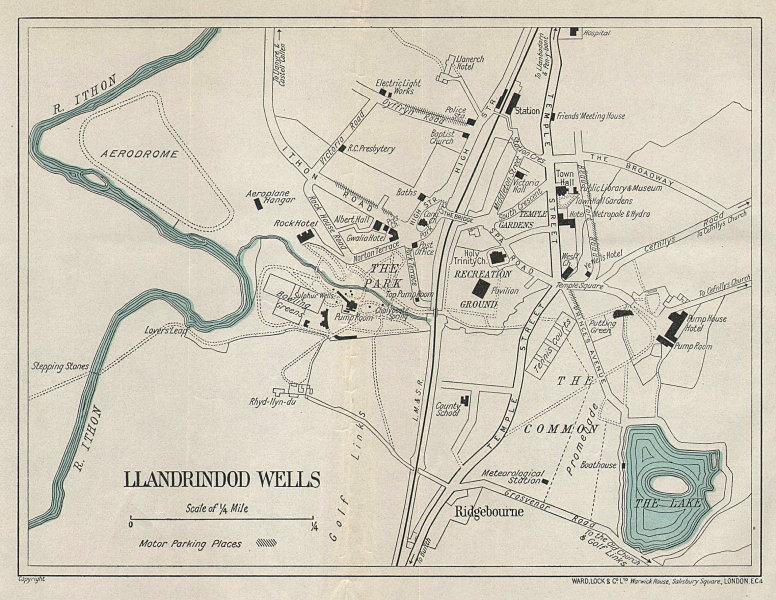 LLANDRINDOD WELLS vintage tourist town city plan. Wales. WARD LOCK 1939 map