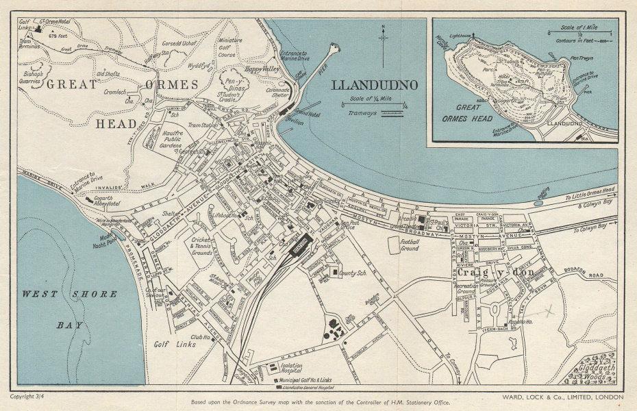 LLANDUDNO vintage town city plan. Great Orme's Head. Wales. WARD LOCK 1961 map