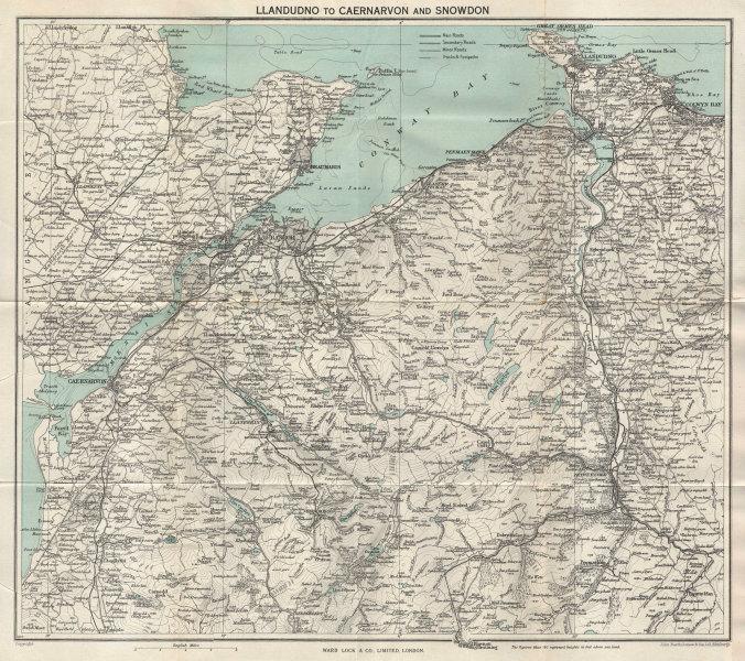 NW WALES. Llandudno Caernarvon Snowdonia Anglesey Bangor. WARD LOCK 1961 map