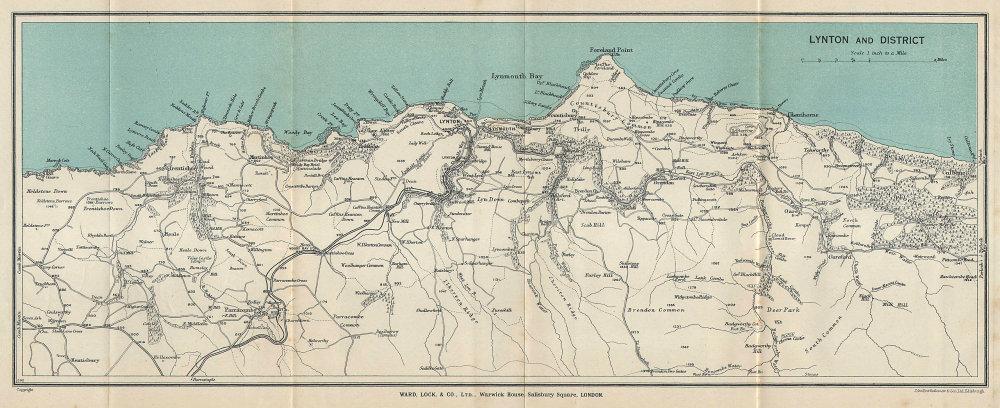 LYNTON & DISTRICT. Exmoor coast vintage tourist map. Devon. WARD LOCK 1933
