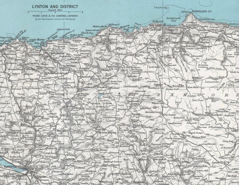 LYNTON & DISTRICT vintage tourist map Exmoor Barnstaple Devon WARD LOCK 1968