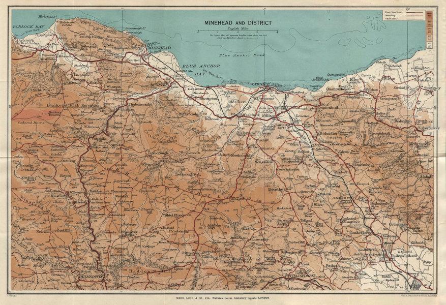 MINEHEAD environs. Exmoor Dunster Dulverton Watchet Somerset. WARD LOCK 1940 map